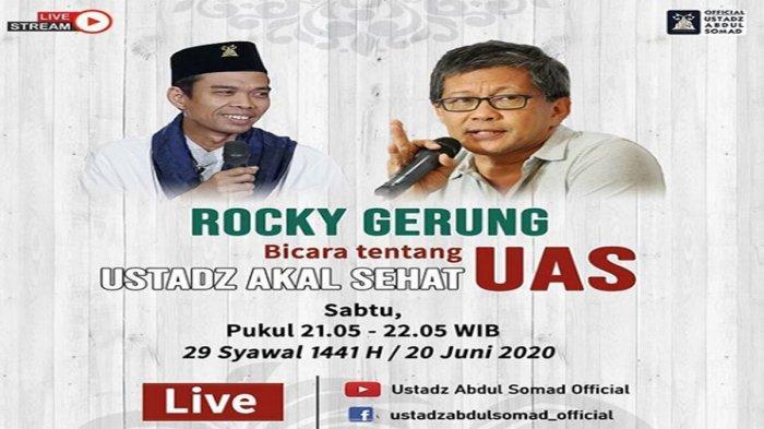 Rocky Gerung dan Ustadz Abdul Somad (UAS) 'Berdiskusi' Malam Ini Sabtu 20 Juni 2020 Live di Youtube