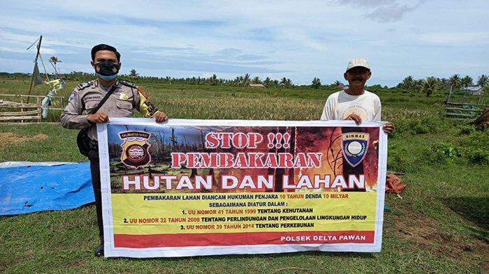 Berikan Imbauan Karhutla, Bhabinkamtibmas Polsek Delta Pawan Kunjungi Pondok Pertanian Warga Binaan