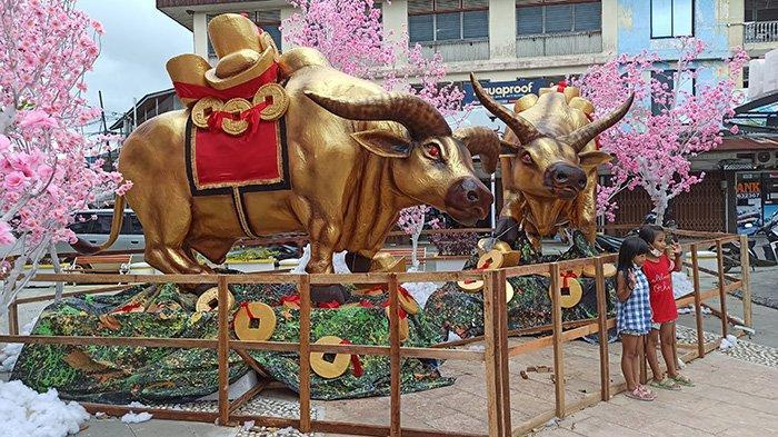 Panitia Perayaan Imlek Hiasi Kota Singkawang Dengan Patung Kerbau dan Ribuan Lampion