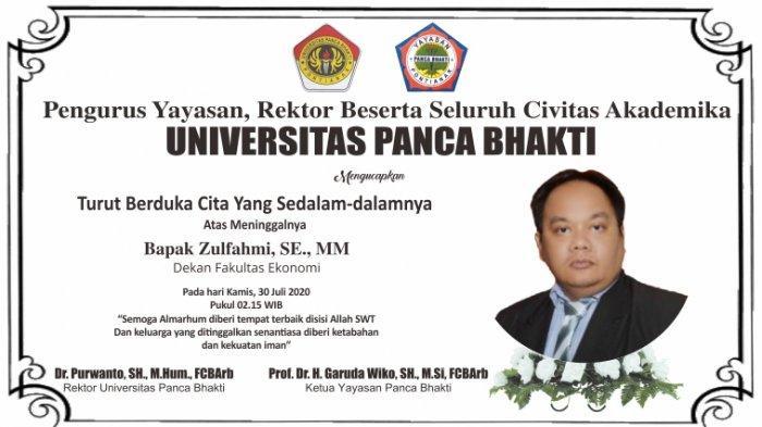 Innalillahi - UPB Pontianak Berduka, Dekan Fakultas Ekonomi Zulfahmi Meninggal Dunia