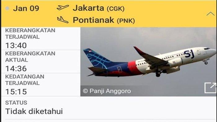 Pesawat Sriwijaya Air Rute Jakarta - Pontianak Dikabarkan ...