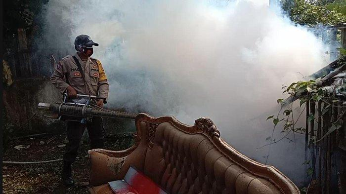 Ada Warga Terjangkit DBD, Bhabinkamtibmas Polsek Seponti Fogging Rumah Warga Satu Dusun