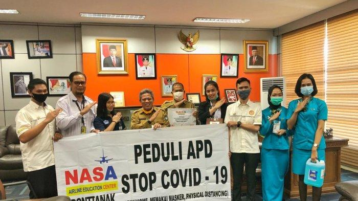 Nasa Airline Education Center Cabang Pontianak Peduli APD Bantu Stop Covid-19 di Kubu Raya