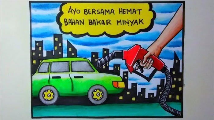 Gambar yang menceritakan ajakan untuk menghemat penggunaan bahan bakar minyak.