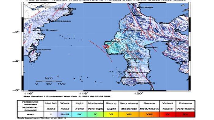 Gempa Majene Magnitudo 5,2 Baru Saja Terjadi Pusat Gempa di Darat Terasa di Mamuju dan Polewali
