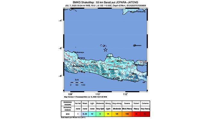 Gempa Hari Ini di Barat Laut Jepara Jateng Berkekuatan Magnitudo 6,1, Dirasakan hingga ke Denpasar