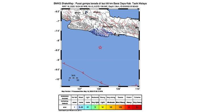 Gempabumi Tektonik Berkekuatan Magnitudo 4,5 Guncang Kabupaten Tasikmalaya