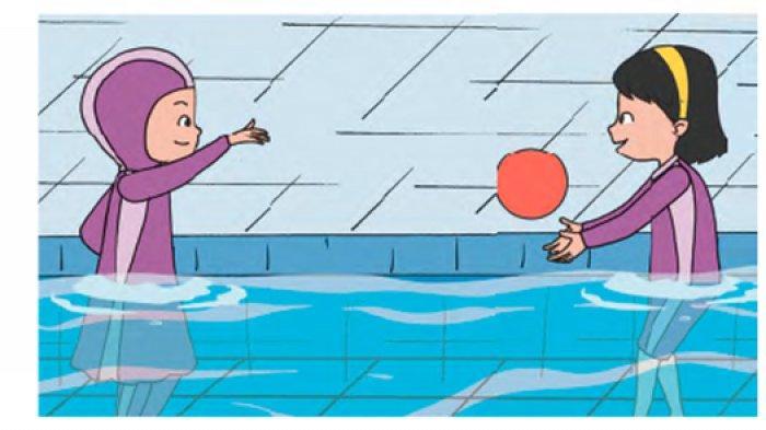 Gerakan melempar dan menangkap bola di air.