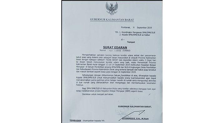 Kondisi Udara Sangat Tidak Sehat, Gubernur Kalbar Sutarmidji Teken Surat Edaran Liburkan Sekolah