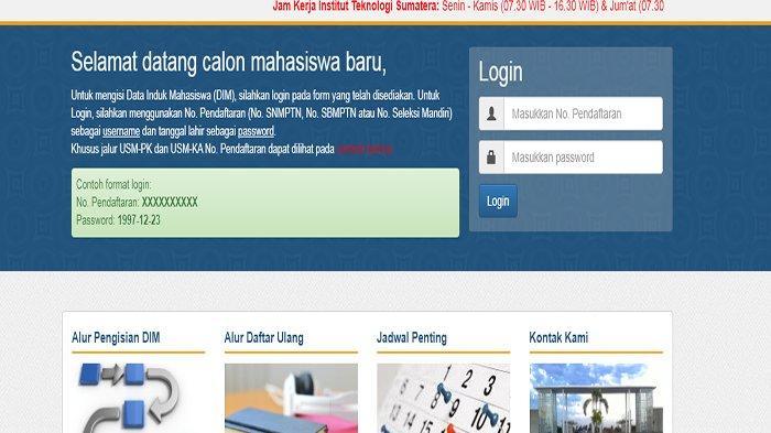 Cara Daftar Ulang Itera atau Institut Teknologi Sumatera ! Isi DIM Login dim.itera.ac.id