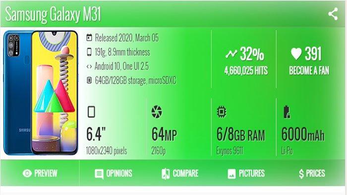 HARGA dan Spesifikasi Samsung M31, Ponsel dengan Baterai Jumbo 6.000 mAh Seharga Rp 3 Jutaan