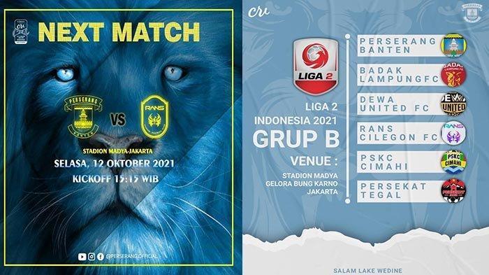 Hasil Liga 2 Indonesia 2021 RANS Cilegon FC vs Perserang Serang Live Ochannel dan Vidio
