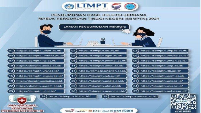 Hasil Seleksi SBMPTN 2021- Cara Cek Nilai UTBK 2021 dan Daftar Nama Peserta Lolos di LTMPT 2021