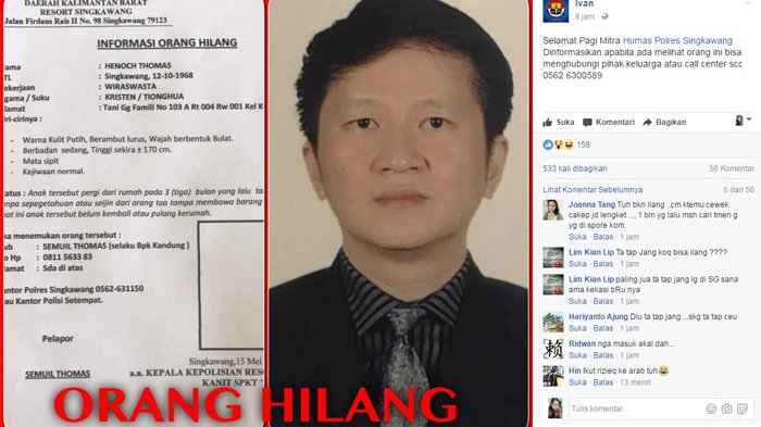 BREAKING NEWS: Keluarga Terus Berupaya Mencari Politikus Singkawang ini