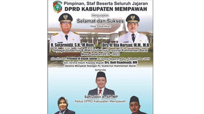 DPRD Mempawah Ucapkan Selamat Terhadap Pelantikan Gubernur Kalbar