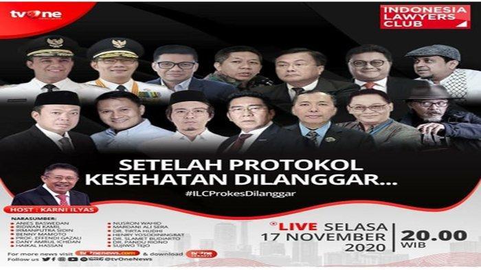LIVE ILC TVONE Setelah Protokol Kesehatan Dilanggar – 14 Narasumber Termasuk Anies dan Ridwan Kamil