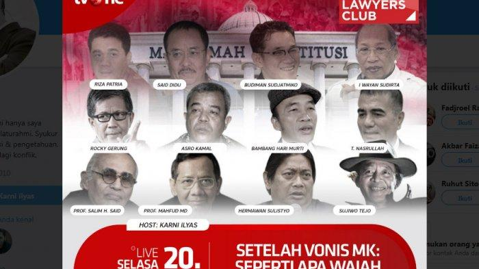 Sedang LIVE ILC TVOne, Karni Ilyas Bahas Tema Setelah Vonis MK: Seperti Apa Wajah Demokrasi Kita?