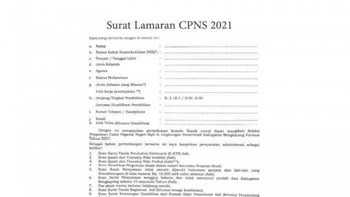 Download Contoh Surat Lamaran Cpns 2021 Dan Surat Pernyataan Casn 2021 Bengkayang Dan Sintang Halaman All Tribunpontianak Co Id