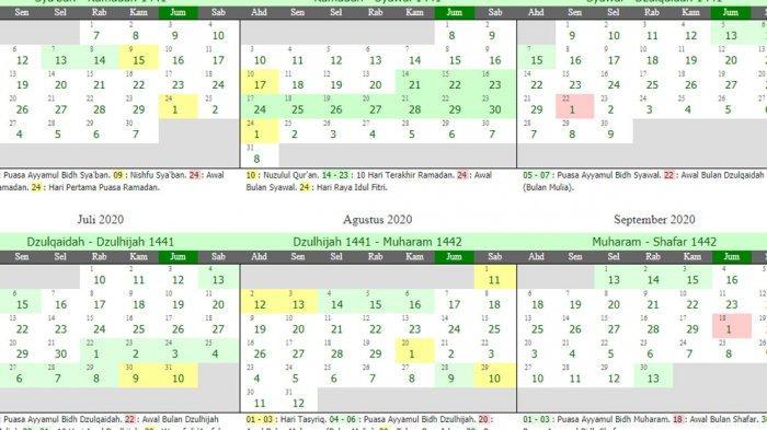 Tanggal & Hari-Hari Penting Dalam Kalender Islam 1442 H disertai Kapan Tanggal 1 Ramadhan 1442 H
