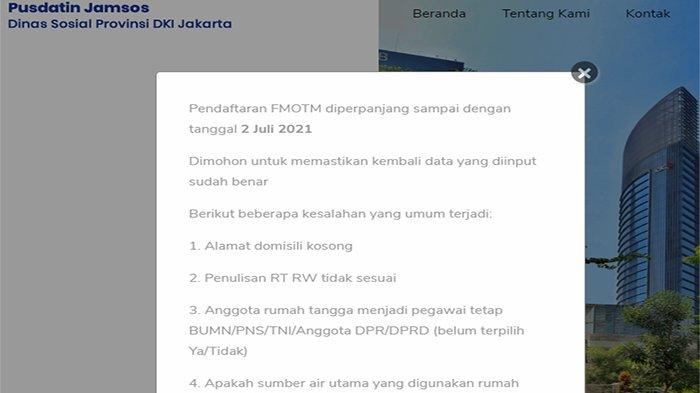 Daftar FMOTM Pusdatin Dinsos Jakarta go id ! FMOTM Diperpanjang Hingga 2 Juli di fmotm.jakarta.go.id