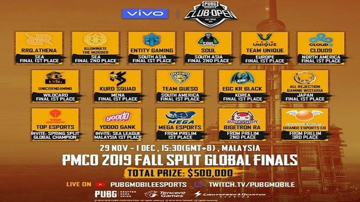 JADWAL Global Final PMCO Fall Split 2019 - Live Streaming Turnamen Dunia PUBG Mobile Dimulai Besok