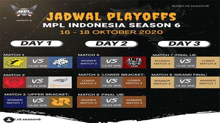 JADWAL GRAND Final MPL ID Season 6 - Update Hasil Bracket Playoffs MPL dan Jadwal Live Streaming MPL