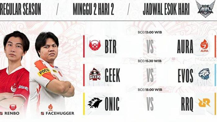 Jadwal MPL ID Season 8 Pekan Kedua Hari Kedua, Laga Seru RRQ Hoshi dan EVOS Legends