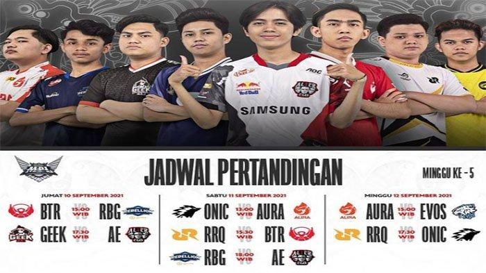 Jadwal MPL ID Season 8 Pekan Kelima 10-12 September 2021 dan Poin Tim Hasil Klasemen MPL