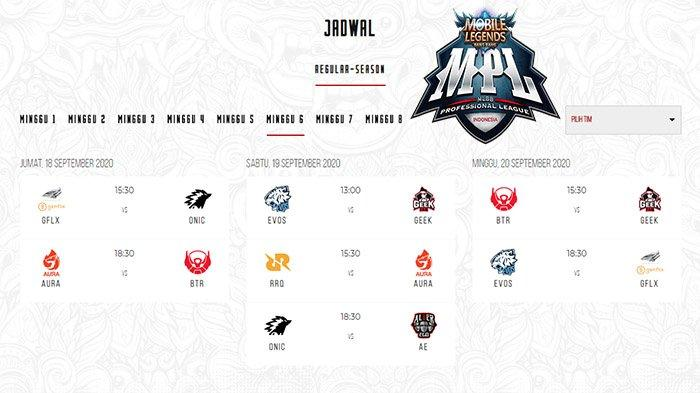 JADWAL MPL Season 6 Week 6 - Duel Perebutan Tahta Klasemen MPL hingga Kebangkitan EVOS dan RRQ