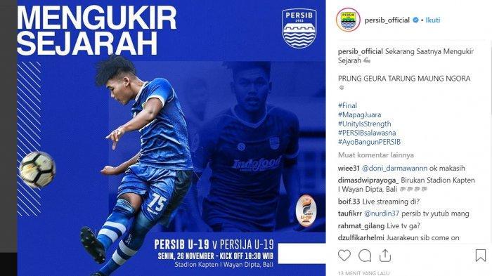 Jadwal Siaran Langsung (Live) Persib Vs Persija: Final Liga 1 U 19 2018