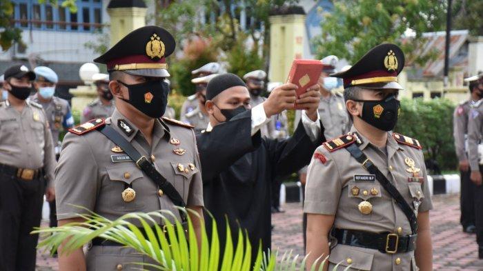 Upacara serah terima jabatan Kasat Lantas Polres Sintang, Jumat 11 Juni 2021