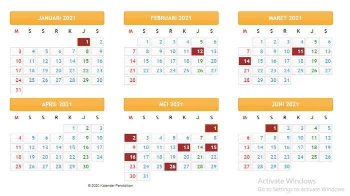 KALENDER Pendidikan Tahun 2021 , Jadwal Masuk Sekolah ...