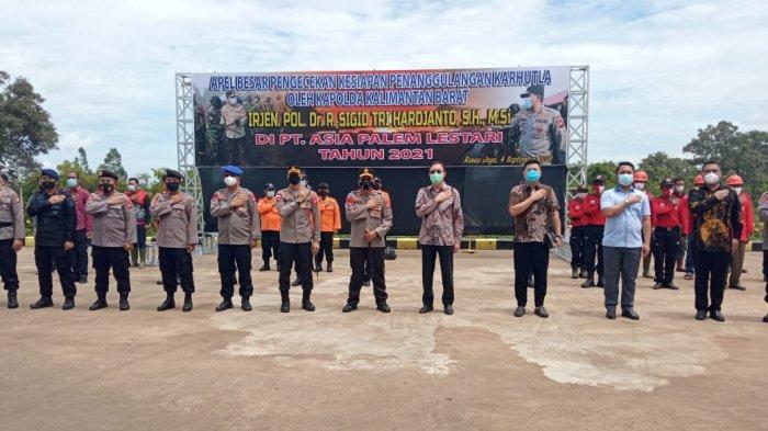 Kapolda Kalbar Pimpin Apel Besar Kesiapan Penanggulangan Karhutla di  Rasau Jaya Kubu Raya