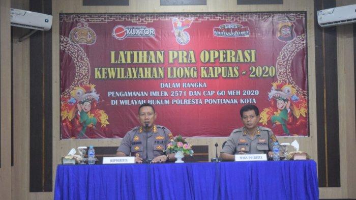 Jelang Imlek dan Cap Go Meh, Polresta Pontianak Latihan Pra Operasi Kewilayahan Liong Kapuas 2020