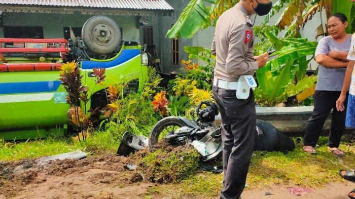 Kecelakaan maut yang terjadi di sekitar Jalan Raya Kuala Secapa, tepat di KM 69,27 Pontianak-Singkawang, antara Truk Tangki plat KB 8723 AV, dengan Sepeda Motor Aerox plat KB 6759 VJ, Senin 4 Januari 2021 sekitar pukul 13.10 WIB.