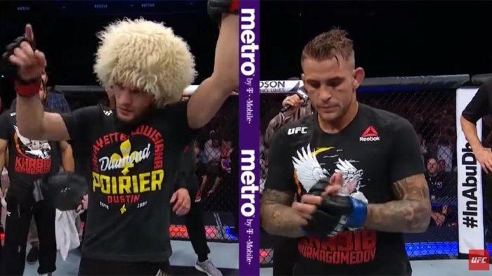 Khabib Nurmagomedov Kalahkan Dustin Poirier di UFC 242 Lalu Kembali Lompati Pagar