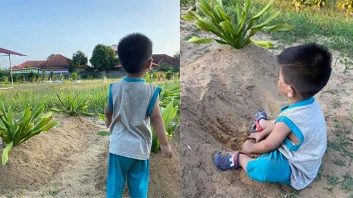 KISAH Haru Bocah 2 Tahun Selalu Panggil Ibu di Makam Orangtuanya, Terungkap Cerita Pilu Dibaliknya