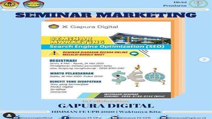 Kolaborasi dengan Gapura Digital, AKPKM UPB Pontianak Gelar Seminar Marketing Online Gratis