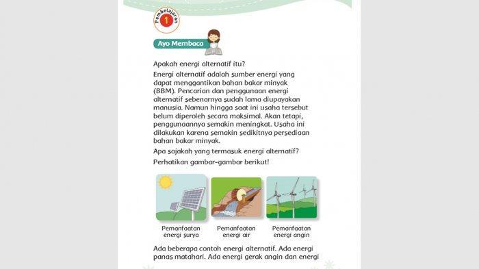 Kunci Jawaban Tema 6 Kelas 3 Halaman 105 106 109 110 111 112 113 Mengapa Perlu Energi Alternatif?