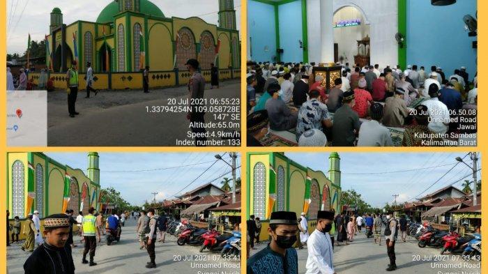 Personel Polsek Jawai Lakukan Pengamanan Sholat Idul Adha dan Pemotongan Hewan Kurban