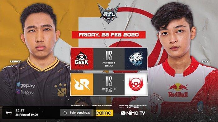 (LIVE) Jadwal MPL Season 5 Pekan Empat Hari Ini - Geek Fam Vs EVOS dan RRQ Vs Bigetron