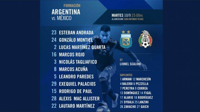 Live Streaming Argentina Vs Meksiko: Penyerang Inter Ganti Messi di Starting XI, Dybala Cadangan
