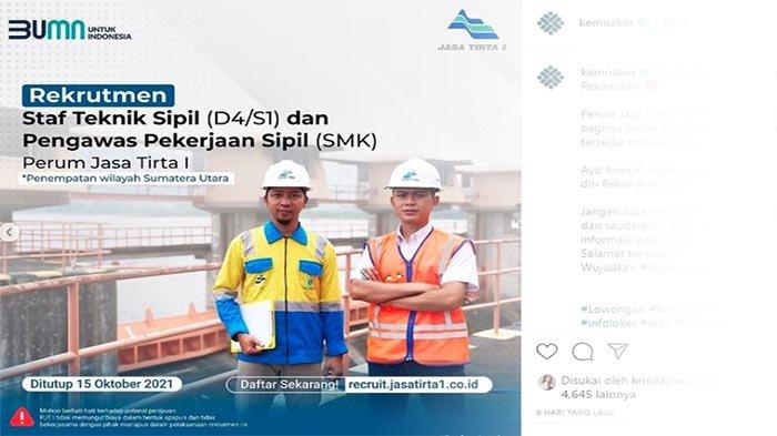 LOKERNAS Update | Lowongan Kerja Medan Oktober 2021, Rekrutmen Karyawan BUMN Perum Jasa Tirta I