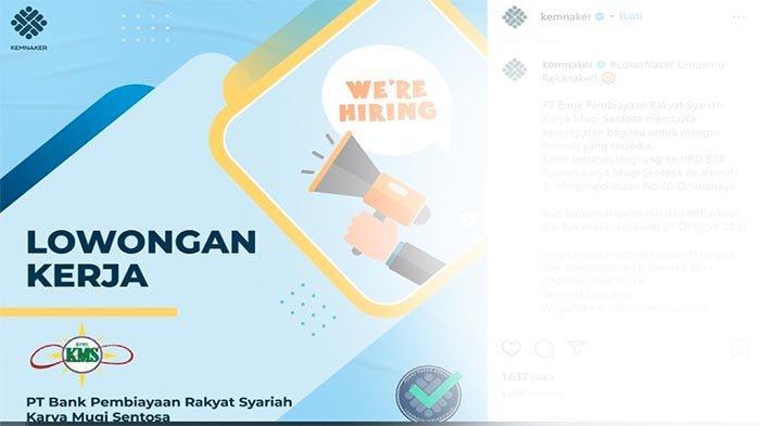 LOWONGAN Kerja di Bank Oktober 2021 Terbaru, Coba Rekrutmen BPR Syariah Karya Mugi Sentosa