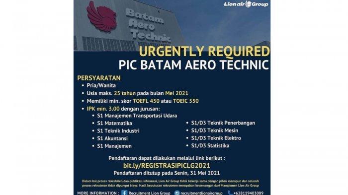 Lion Air Buka Lowongan Kerja untuk Lulusan D3 dan S1, Berikut Ini Syarat dan Cara Daftarnya