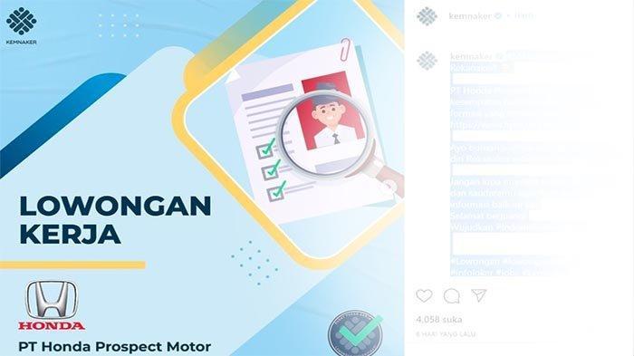 LOWONGAN Kerja SMA/SMK Terbaru, Yuk Coba Peluang Loker 2021 di Produsen Mobil Honda di Indonesia