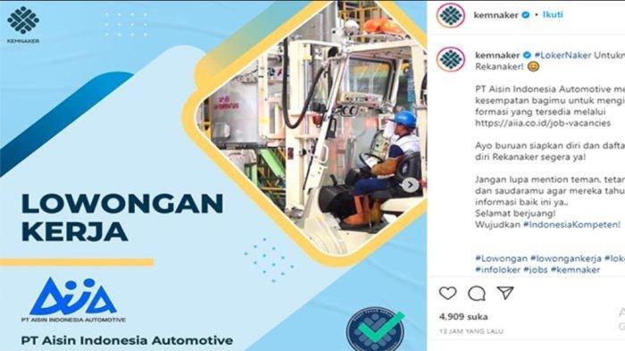 LOWONGAN Pekerjaan 2021 Terbaru PT Aisin Indonesia Automotive Dibuka! Ada 5 Posisi yang Bisa Dilamar