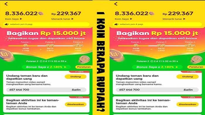 Nilati Tukar Koin Snack Video ke Rupiah