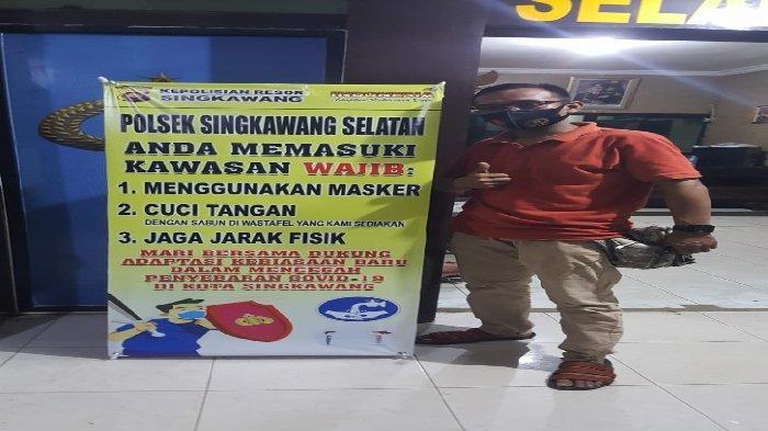 Pendisiplinan Anggota dan Masyarakat, Polsek Singkawang Selatan Pasang Banner Gerakan 3 M + 1 T