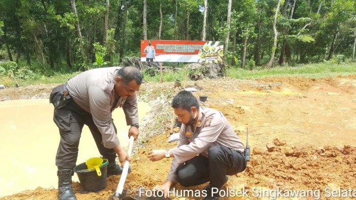 Kegiatan Penghijauan Polda Kalbar 2020, Polsek Singkawang Selatan Tanam Pohon di Mapolsek